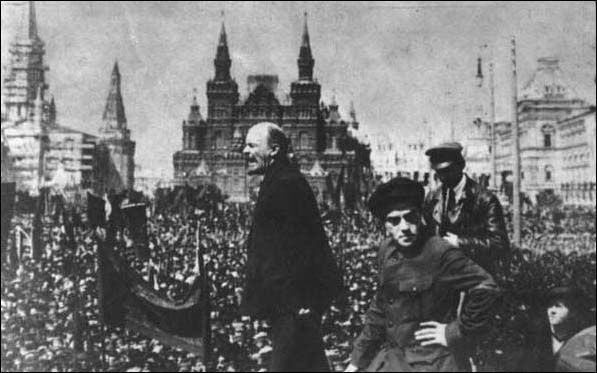 V.I. Lenin addresses a crowd
